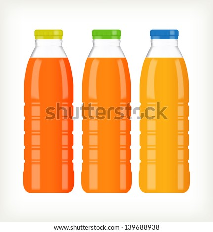 Bottles with juice isolated on white - stock vector