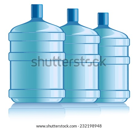 bottles with water. vector illustration - stock vector