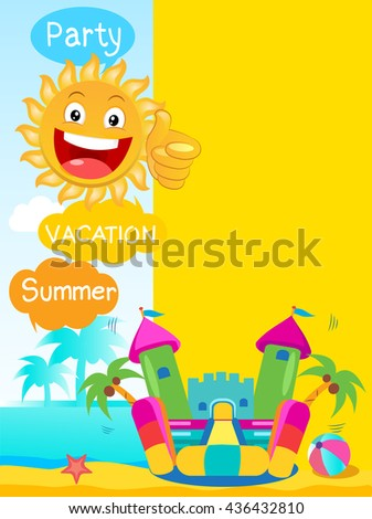 Bouncy Castle And Happy Sun. Summer tropics background. Summertime Template With Space For Text. - stock vector