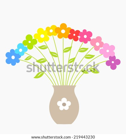 Bouquet of colorful flowers in vase. Vector illustration - stock vector