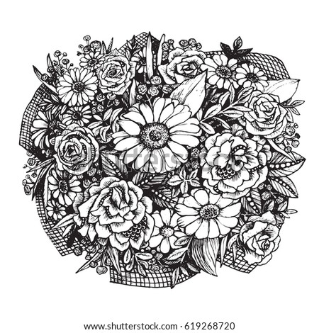 Bouquet Flowers On Withe Background Spring Stock Vector 619268720 ...