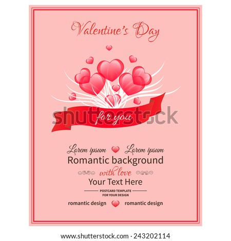 Bouquet of hearts and ribbon on pink background with space for text.Card  Valentine's Day - stock vector
