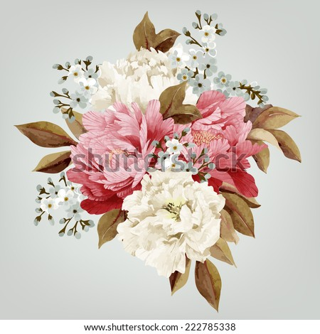Bouquet of peonies, watercolor, can be used as greeting card, invitation card for wedding, birthday and other holiday and  summer background - stock vector