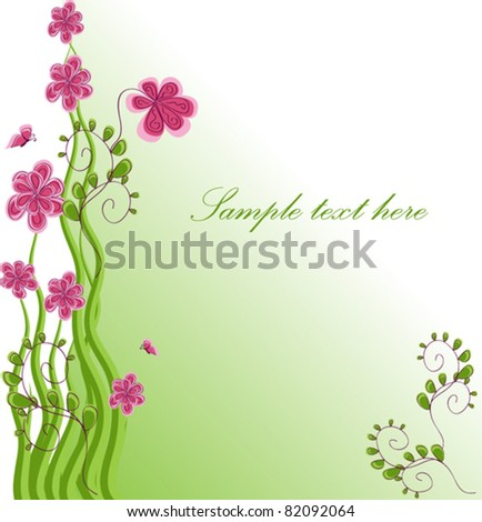 Bouquet of pink chamomiles vector illustration with a letter of congratulations