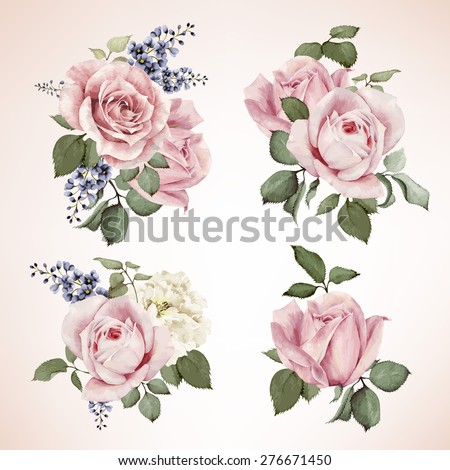 Bouquet of roses, watercolor, can be used as greeting card, invitation card for wedding, birthday and other holiday and  summer background. Vector.  - stock vector