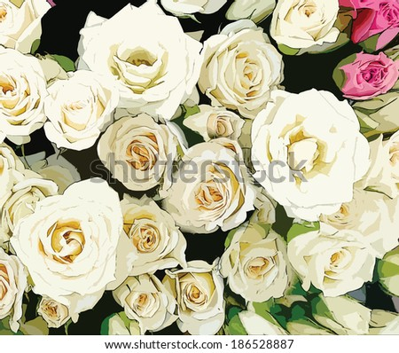 Bouquet of stylized white and pink roses on black background