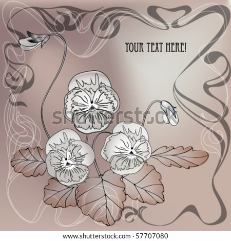 bouquet of summer flower. Pansy with leaves and bud. Art nouveau style  with ink draw stylization. EPS10 - stock vector