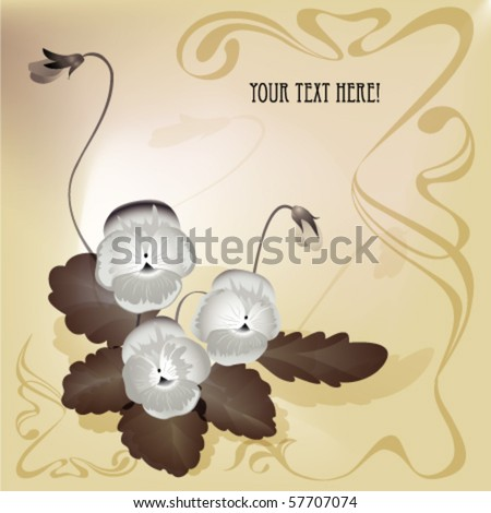 bouquet of summer flower. Pansy with leaves and bud. Art nouveau style  with old post card stylization. EPS10 - stock vector