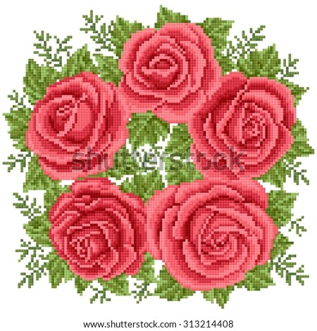 Bouquet of the red roses, embroider - stock vector