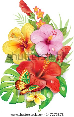 Bouquet of tropical flowers - stock vector