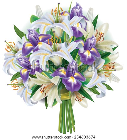 Bouquet of white lilies and irises - stock vector