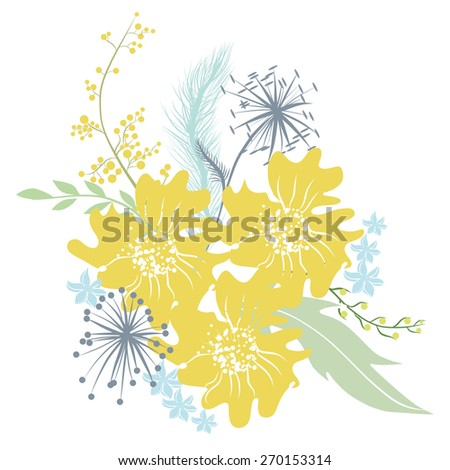 Bouquet of yellow anemones, twigs, dried flowers and wildflowers. Vector illustration for greeting cards and invitations. - stock vector