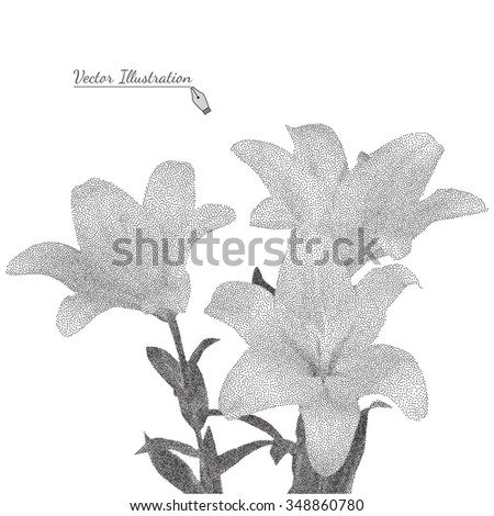 Bouquet of yellow lilies. Vector illustration in black and white graphic style  pointillism - stock vector