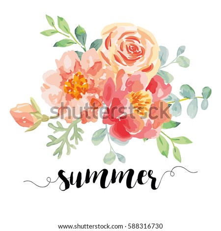 Bouquet with pink roses and peonies with green leaves on the white background. Watercolor vector romantic garden flowers. Card template with message Summer.