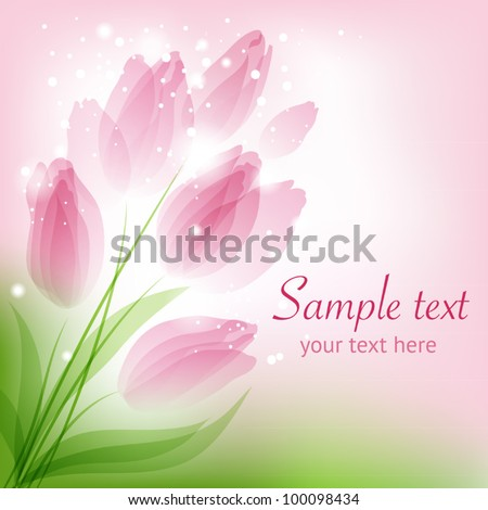 Bouquet with tulips - stock vector