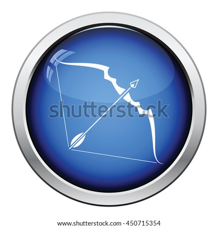 Bow and arrow icon. Glossy button design. Vector illustration. - stock vector