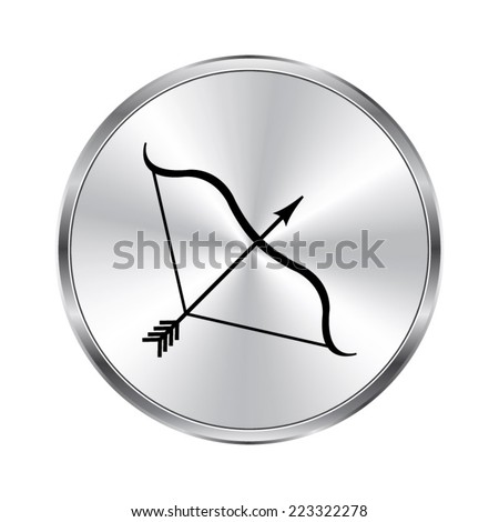 Bow and Arrow icon - vector brushed metal button - stock vector
