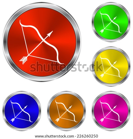 Bow and Arrow  icon - vector glossy colourful buttons - stock vector