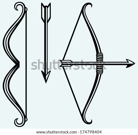 Bow and arrow. Image isolated on blue background - stock vector
