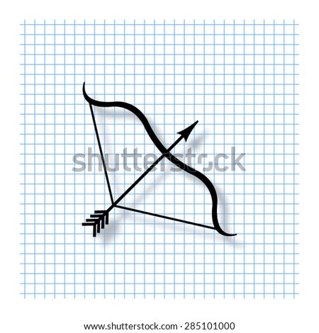 Bow and Arrow - vector icon with shadow - stock vector
