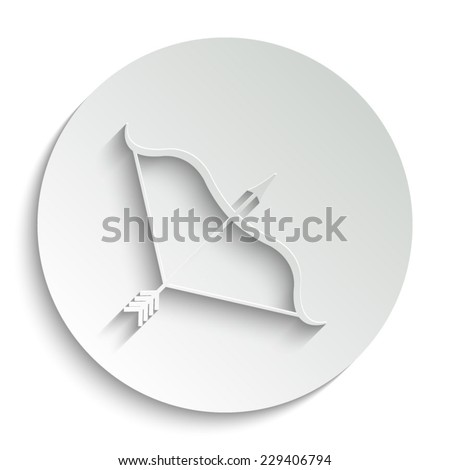Bow and Arrow - vector icon with shadow on a round button - stock vector