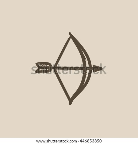 Bow and arrow vector sketch icon isolated on background. Hand drawn Bow and arrow icon. Bow and arrow sketch icon for infographic, website or app. - stock vector
