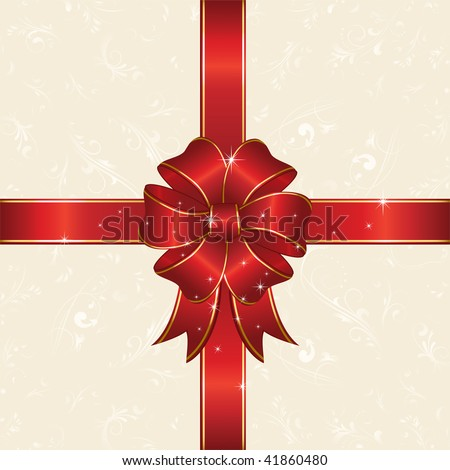 Bow and ribbon wrapping paper sheet, illustration - stock vector