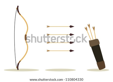 bow, arrow and case, hit int the center - stock vector