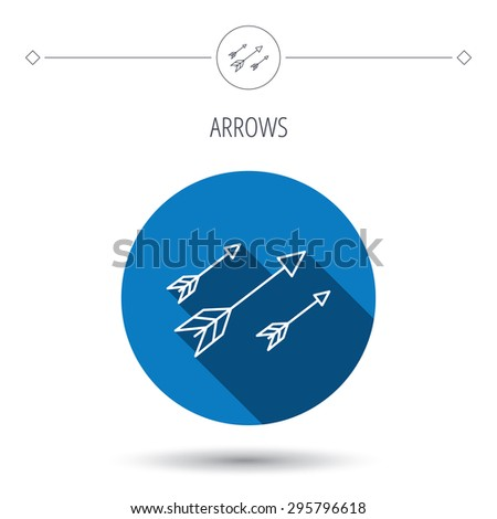 Bow arrows icon. Hunting sport equipment sign. Archer weapon symbol. Blue flat circle button. Linear icon with shadow. Vector - stock vector