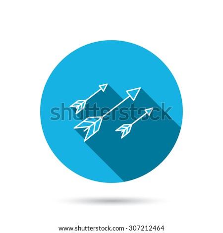 Bow arrows icon. Hunting sport equipment sign. Archer weapon symbol. Blue flat circle button with shadow. Vector - stock vector