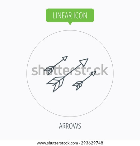 Bow arrows icon. Hunting sport equipment sign. Archer weapon symbol. Linear outline circle button. Vector - stock vector