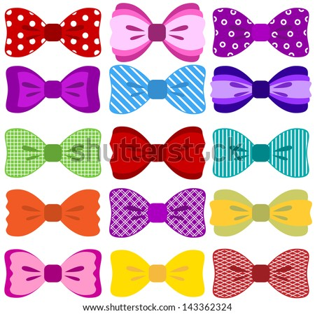 Bow collection (completely editable, elements not merged together, patterns easily removed in vector programs) - stock vector