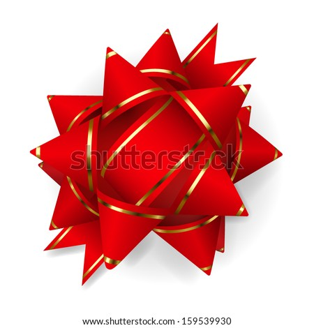 Bow made of red ribbon with golden strips. Decoration for a gift. - stock vector