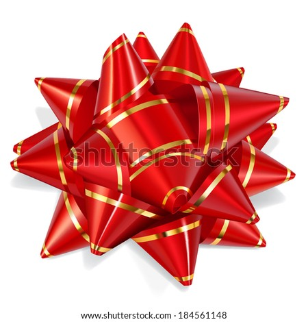 Bow of red ribbon with gold stripes with shadow on white background