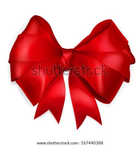 Bow of red wide ribbon with shadow - stock vector