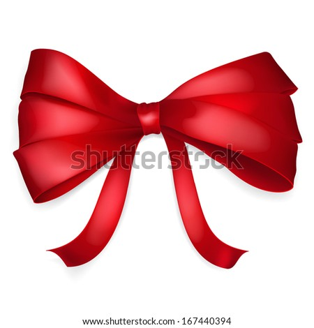 Bow of thin red ribbon with shadow