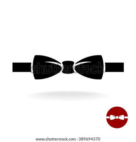 Bow tie black vector icon with ribbon. Isolated on a white background. - stock vector