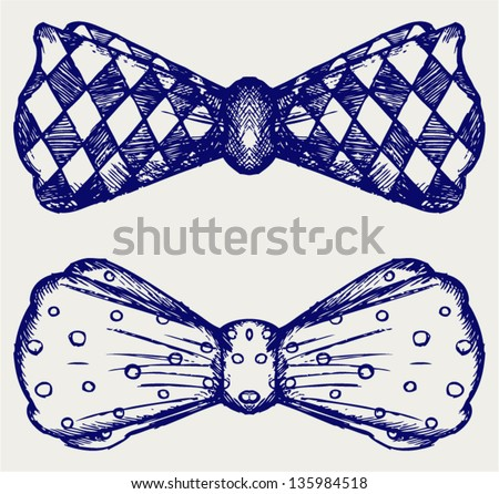 Bow-tie. Doodle style - stock vector