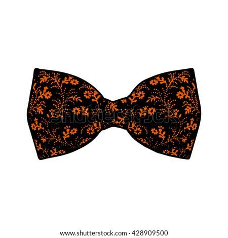 Bow tie. Orange and black color. Vector - stock vector