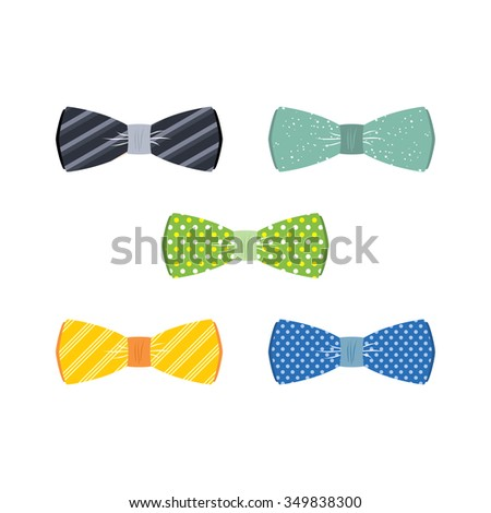 bow tie set theme vector art illustration