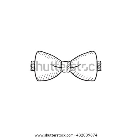 Bow tie sketch icon for web, mobile and infographics. Hand drawn bow tie icon. Bow tie vector icon. Bow tie icon isolated on white background. - stock vector