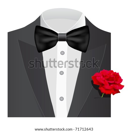 Bow tie with rose,  illustration - stock vector