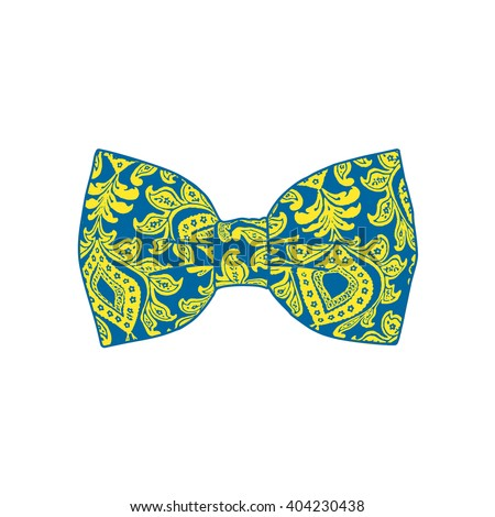 Bow tie. Yellow and blue color.. Vector illustration - stock vector
