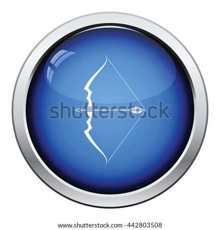 Bow with arrow icon. Glossy button design. Vector illustration. - stock vector