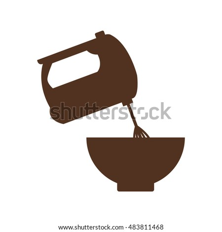 Bowl and mixer icon. Bakery food and shop theme. Isolated design. Vector illustration
