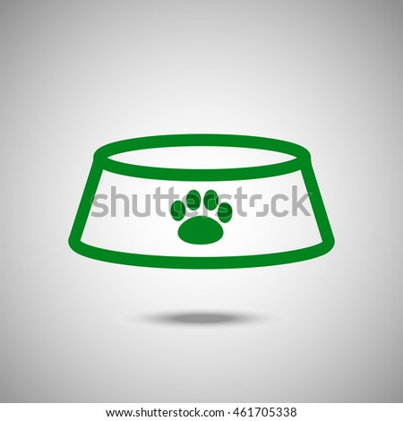 Bowl for animal icon. Flat style. Grey background. Vector illustration.