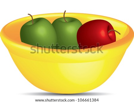 Bowl of apples,red and green apples in a bowl. Vector,EPS10 - stock vector