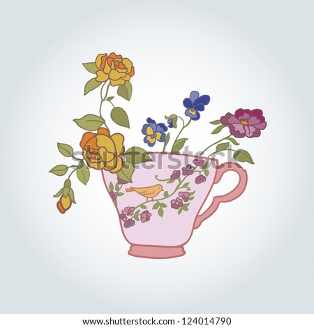 bowl of flowers in vintage style vector illustration - stock vector