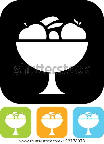 Bowl of fruits vector icon - stock vector