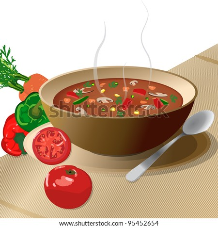 Bowl of hot vegetable soup on plate, with spoon and tomato, peppers, carrots, isolated on white. - stock vector